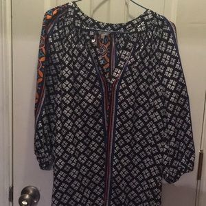 Black multi boho blouse